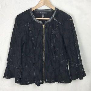 INC Black Lace Peplum Zip-up Jacket Size Large